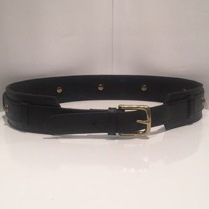 "J. Crew Black Leather Brass Stud Belt Waist 32-34"""
